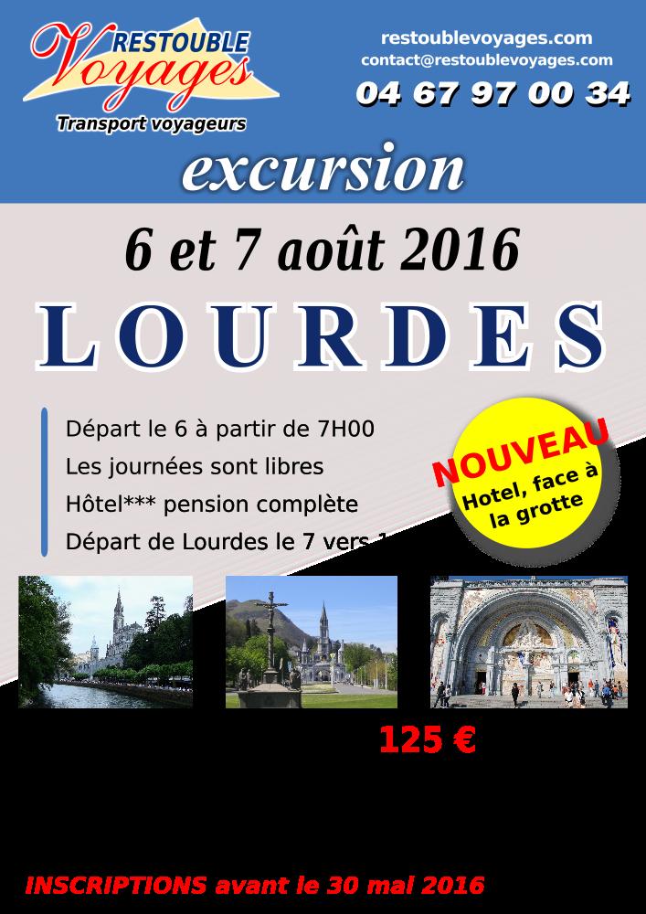 Affiche voyages pour LOURDES 2016
